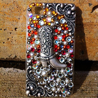 Cowgirl Boot Silver Yellow Burgundy Orange & Pearl iPhone 4/4S Case