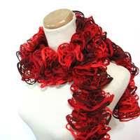 Valentines Day Red Ruffled Scarf - Hand Knit