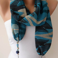 Blue - Jewelry Scarf - Chiffon Fabric with Beads and Chain