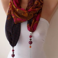 Fuchsia Purple and Dark Blue - Jewelry Scarf - Chiffon Fabric with Beads and Chain