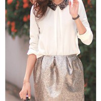Sequins Peter Pan Collar Blouse