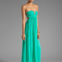 Indah Flamingo Rayon Crepe Smocked Bandeau Maxi Dress in Green