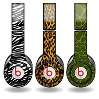 Animal Print Set of 3 Headphone Skins for Beats Solo HD Headphones - Removable Vinyl Decal!