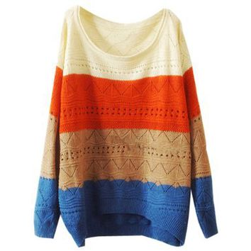 Lookbookstore Women Striped Colorway Cutout Crochet Knit Knitwear Sweater Top