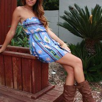 Blue Strapless Aztec Dress