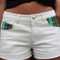 White Denim Shorts with Tribal Embroidery