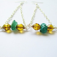 Boho Teal Apatite & Amber Cathedral Glass Trapeze Earrings