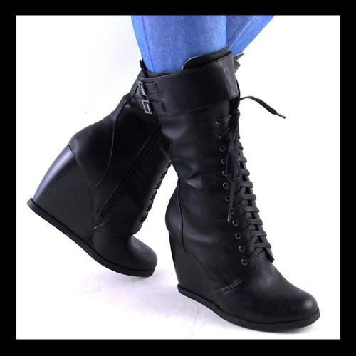 new womens black laceup high wedge heel from coolshoesmd