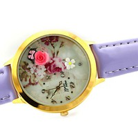 Romantic Rose Vintage Printing Polymer Clay Watch