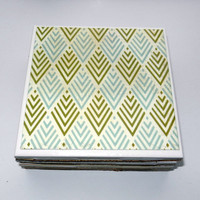 Olive and Light Blue Chevron Ceramic Coasters