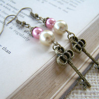 Pink and Cream Faux Pearl Long Dangle Earrings - Key Earrings - Handmade Jewelry - Ready to Ship