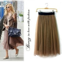 Khaki Brown Ruffle Womens Ladies Pleated Tulle Mesh Dress Long Maxi Party Skirt