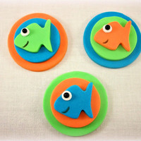 12 Fish Cupcake Fondant Topper,Sea Party Cupcake Fondant Topper,Sea Party Edible decorations,Fish Edible decoration