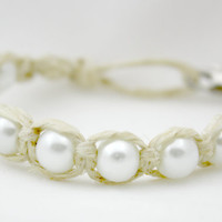 Glass Pearl Bead and Hemp Bracelet With Lobster Clasp