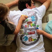 Car Play Shirt (Size L) - Full color map for kids to drive cars on while daddy relaxes, Father's Day gift