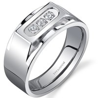 Bold Mens Titanium 3 Stone 10 mm Ring...