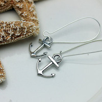 Anchor Earrings in Silver on Kidney Style Earwires