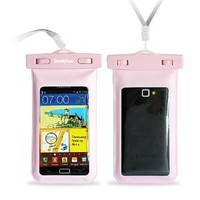 "Amazon.com: DandyCase Pink Waterproof Case for Apple iPhone 5, Galaxy S4, HTC One, iPod Touch 5 - Also fits other Large Smartphones up to 5.3"" Including Galaxy S3, HTC One X/X+, Droid RAZR/MAXX, Nexus 4, EVO 4G LTE, Droid Incredible, LG Optimus G, Nokia Lu"