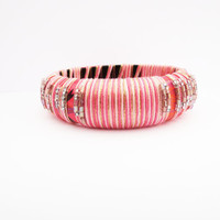 Pink ombre wood bangle. Cotton thread and copper. Ethnic bangle, boho chic, ooak