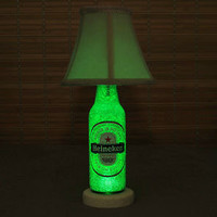 Heineken Beer 12oz Bottle Accent Lamp Night Light with Shade Bar Man Cave Sign