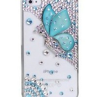 Blue 3D Bling Crystal Diamond Butterfly Case Cover For Apple iPhone 4 4S