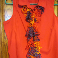 Orange Purple Red - 50 inch Summer Weight Ruffled Scarf
