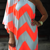 Wild Wide One Shoulder Chevron Dress: Neon Coral | Hope's