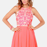 Keepsake Golden Child Embroidered Neon Coral Dress