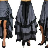 RetrosGrey Pinstripe Steampunk Show Girl Skirt