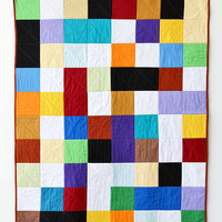 Multicolored square geometric quilt