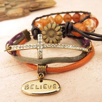 Believe cross and orange agate wrap bracelet by trinketsforkeeps
