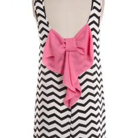Black and White Small Chevron Print Dress with Pink Bow Back