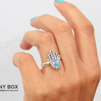 Hamsa Silver Ring - Hand of Fatima  Ring -  Gift for Girlfriend