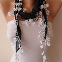 Lightweight Summer Scarf - Black Scarf with White Flowers Edge