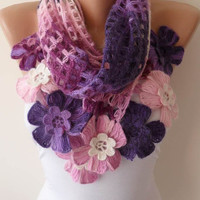 Purple Wool Crochet Scarf - Handknit Scarf