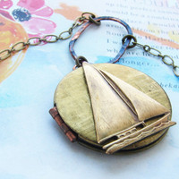 Sailboat Locket Necklace vintage locket necklace by soradesigns