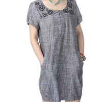 linen Knee length babydoll  dress