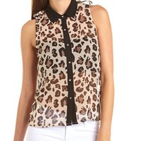 Metallic Collar Animal Print Tank: Charlotte Russe