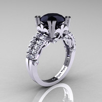 Modern Vintage 14K White Gold 3.0 Carat Black Diamond Solitaire Ring R333-14KWGDBD