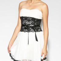 Lace & Tulle Mesh Flare Dress-$38.50-Dressy