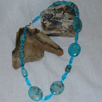 Turquoise Stone and Blue Glass Bead Necklace by PattysDreamDesigns