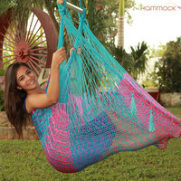 Large Hammock Chair Swing. Cotton or Nylon. handmade woven knit MULTICOLOR. Father's Day SALE: FREE hanging rope with your hammock purchase