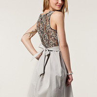 Lace Back Flared Dress, Closet