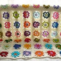 Colorful Flowery Blanket Pink Red Orange Purple by AtelierAfra