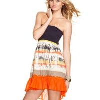 Jolt Dress, Strapless Tie Dye Print Ruffled A-Line - Juniors Dresses - Macy's