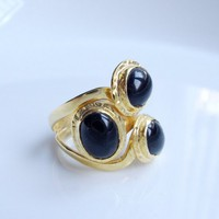 Trial Onyx stone GOLD RING | moonfairy - Jewelry on ArtFire