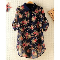 Three Quarter Sleeve Vintage Flower Long Shirt