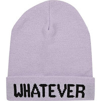 Light purple whatever beanie hat