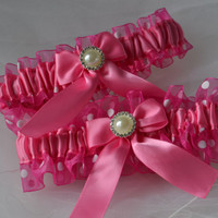 Bridal Garter Wedding Garter Set Hot Pink and Fuchsia Polka Dotted Sheer Organza