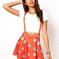 River Island Daisy Print Skater With Braces at asos.com